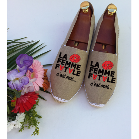 """Espadrilles femmes-sable-personnalisées """"femme fatale"""""""