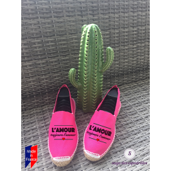 "Flat espadrilles, made in France, personalized ""love always ..."""