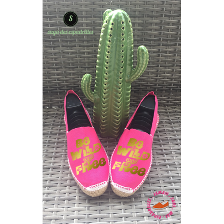 """Espadrilles artisanales made in france personnalisées """"be wild and free"""""""