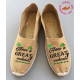 "Espadrilles artisanales made in France et personnalisées ""have a great weekend"""