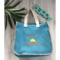 "Grand sac en jute azur brodé ""enjoy summer"""