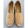 authentiques espadrilles basques, cousues main, unies, couleur sable